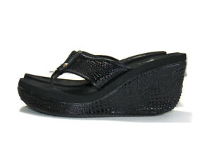 Volatile Sandals Black Reptile Swan Wedge Abigail Thong Flip Flops Womens 10