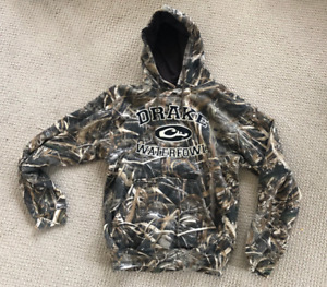 Drake Hoodie Embroidered Logo Men's SMALL Max 5 Camo 80% Cotton / 20% Poly NEW