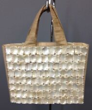 PIERRE URBACH Beige White Burlap Mother Of Pearl Beaded Satchel Handbag B3321