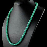190.50 Cts Earth Mined Single Strand Green Emerald Round Shape Beads Necklace