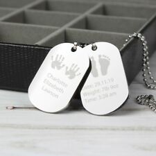 Personalised New Dad Gift Mens Dog Tag Necklace - Hand & Footprint - New Daddy