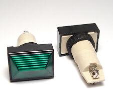 2x Rafi Schalttafel Einbau-Leuchte 1.61010 , 25x36 mm, f. E14/2W Lampe, grün