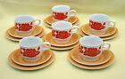 Funky Retro Staffordshire England Cup Saucer & Plate Trios x 6 *Orange & Yellow