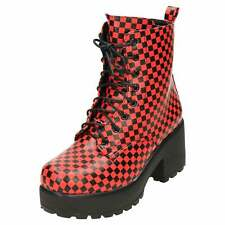 Platform Lace Up Black Red Check Ankle Boots Chunky Mid Heel Combat Punk Gothic