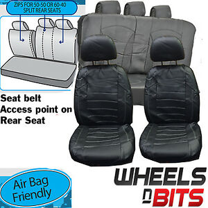 Opel Sintra Tigra UNIVERSAL BLACK + White stitch Leather Look Car Seat Covers