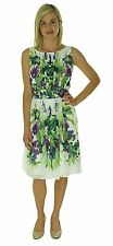 2079 Ralph Lauren Womens Chiffon Floral Print Wear to Work Dress White 16 mult