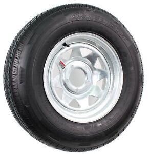 "2-Pk Radial Trailer Tire On Rim ST205/75R14 LRD 14"" 5 Lug Spoke Wheel Galvanized"