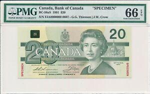 Bank of Canada Canada  $20 1991 Specimen PMG  66EPQ