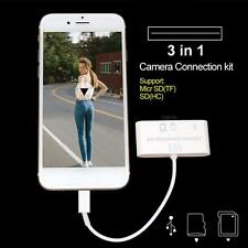 3 in 1 USB Camera Connection Kit SD Card Reader Adapter for Apple iPad/iPhone US
