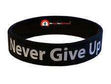 NEVER GIVE UP (Black) Wristband Motivational Inspirational Ionic Negative Ion
