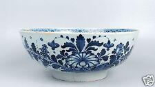 Large 18th Century English Delft Punch Bowl Blue Dec Antique Tin Glaze Pottery