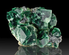 """4.6"""" Cubic Penetrating Twin Green Blue FLUORITE Crystals Rogerley UK for sale"""