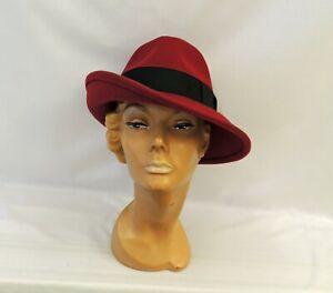 Ladies Wine Large Brim Tilt Fedora Hat 1930s 1940s Vintage style