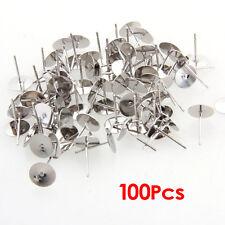100 Silver Tone Flat Pad Earring Posts Studs DIY 8mm HOT T1