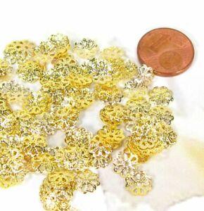 Perlenkappen 100 Stück Goldkappen filigran goldfarben  7mm