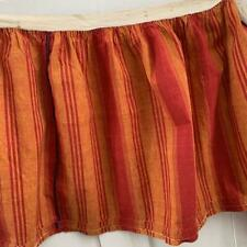 Antique French striped furnishing fabric Valance early 19th century red orange