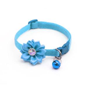 Blue Rhinestone Flower Adjustable Kitten Collar Bell Cat Pet Puppy Snap Buckle