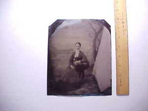 1880s GIANT FULL PLATE TINTYPE OF OHIO LADY IN PHOTOGS. CHAIR W/ PAINTED BACKDRO