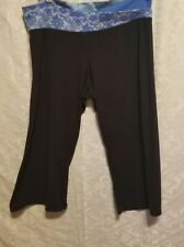 Joe boxer womens work out yoga pants size XL black with colorfull waist band pre