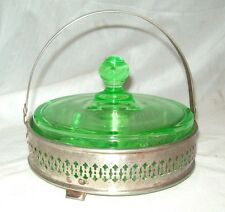 Vintage Green Depression Glass Divided RelishTray Chafing Dish Silver Basket