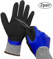2 Pairs Nitrile Work Gloves Cut&Water-proof Safety high Grip Level 5 Top Quality