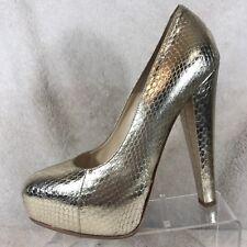 Brian Atwood Gold Snake Print Leather Platform Heels Women's 7.5 / 38.5