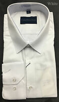 SLIM FIT MENS SOLID WHITE LONG SLEEVE DRESS SHIRT GROOMS WEDDING SUIT ESSENTIALS