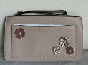 NWT Kate Spade Eva Pearl Flower Cutout Leather Wallet Clutch Wristlet $199