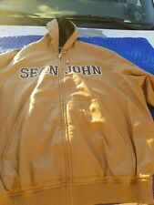 Men's Sean John Xl Vintage Tan 100% Genuine Leather Jacket