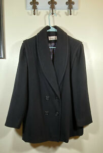 Herman Kay Women's Wool Peacoat Black Button Double Breast Size Medium or Large