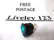 On / Off  Illuminated  round rocker switch  BLUE 16A  12V DC SPST