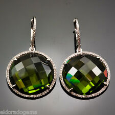 14K WHITE GOLD EURO WIRE EARRINGS - PERIDOT & HALO 1.00 CT. ROUND DIAMOND