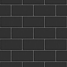 Fine Decor FD40137 Luxury Black Cermica subway Brick Tile Effect Vinyl Wallpaper