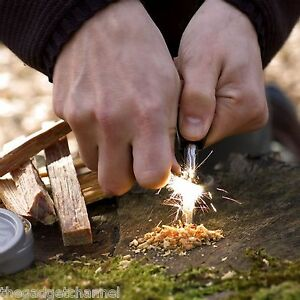 MAGNESIUM FIRE STARTER STEEL FLINT CAMPING BUSHCRAFT FIRESTEEL MENS BOYS GIFT