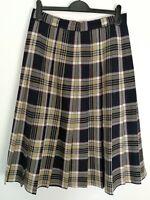 James Mead 100% Wool Pleated Check Midi Kilt Skirt Tartan Tweed Like Size 16