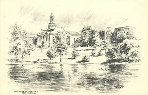 Storrs~University of Connecticut~Campus Drawing~Artist F Murray~1939 Postcard