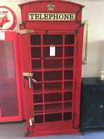 TELEPHONE BOX (BOYLE BRAND) METAL COLOR RED APP 7 FEET TALL AND 3 FEET WIDE