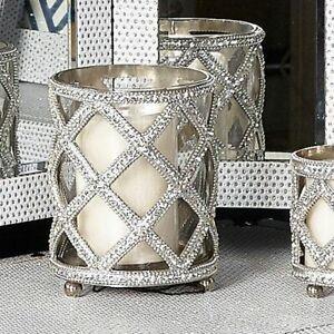 Large Glitz Silver Candle Holder Make Up Brush Rhinestones Sparkle Diamond Home