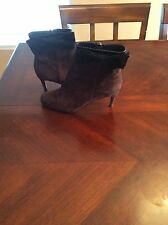 Size 6m Brown Suede and Black Patent Leather Kate Spade Boots with Bow