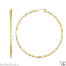 "2x60mm 2 3/8"" Large Diamond Cut Hoop Earrings Real 14K Yellow Gold FREE SHIPPING"