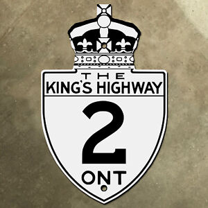 Ontario King's Highway 2 route marker road sign Canada Toronto Windsor 401 1930s