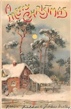 1906 Snowbound Cottage Merry Christmas Hold to Light post card
