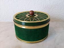 alte runde Blechdose Keksdose Bonbondose Dose mit Velourüberzug grün gold