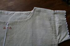 ancienne chemise de nuit, LIN très épais , N°380, tunique,  feston,monogramme MA
