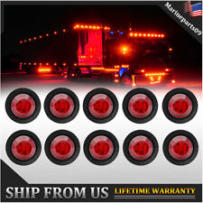"""10X 3/4"""" LED Mini Round Truck Car Side Clearance Marker Bullet Light Red"""