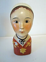 "Colonial lady head vase wall pocket 6.5"" tall porcelalin"
