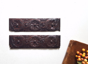 2 rosette acanthus flower carving pediment Antique french architectural salvage