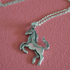 925 Sterling Silver 2 Sided Animal Equestrian Mustang Horse Charm Necklace