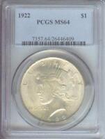 1922 PEACE SILVER DOLLAR S$1 PCGS MS64 BEAUTIFUL MS-64 Near GEM !!!!