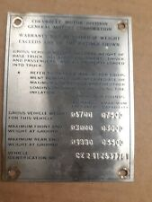 1971 CHEVROLET CUSTOM CAMPER CHEVY C20 TRUCK HISTORICAL MEDALLION FOR DISPLAY